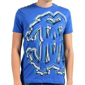 Roberto Cavalli Mens Blue Graphic Crewneck T-Shirt